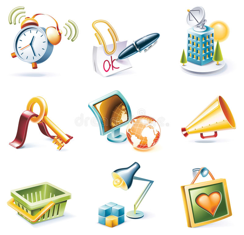 Vector cartoon style icon set. Part 9 royalty free illustration