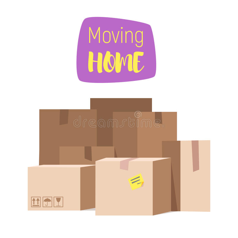 Vector cartoon style illustration of closed paper boxes. royalty free illustration