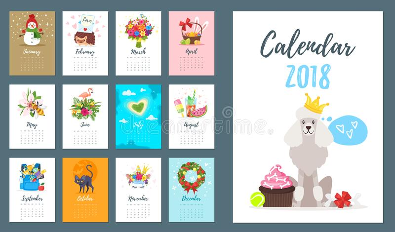2018 dog year monthly calendar stock vector illustration of number