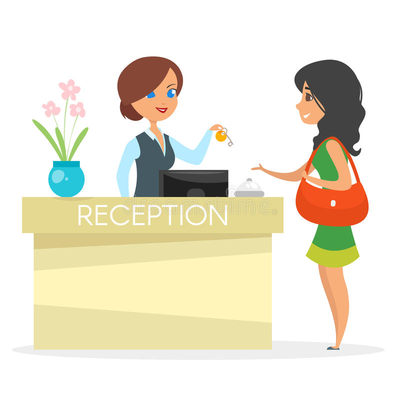 Vector cartoon style illustration of hotel reception stock illustration