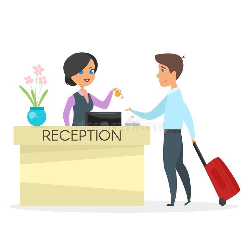 Vector Cartoon Style Illustration Of Hotel Reception ...