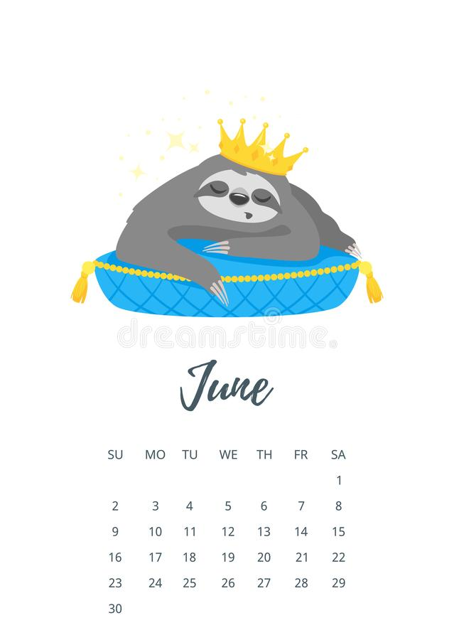 June 2019 year calendar page. Vector cartoon style illustration of June 2019 year calendar page with cute sloth character in golden crown, lying on luxury blue vector illustration