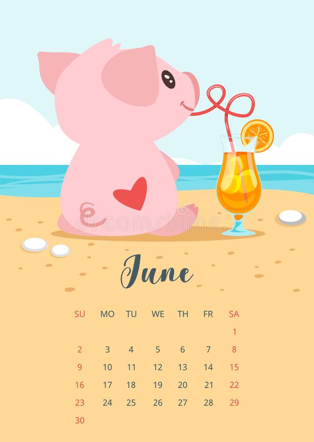 2019 year calendar page. Vector cartoon style illustration of June 2019 year calendar page with pink pig sitting backwards with heart on its back and drinking stock illustration