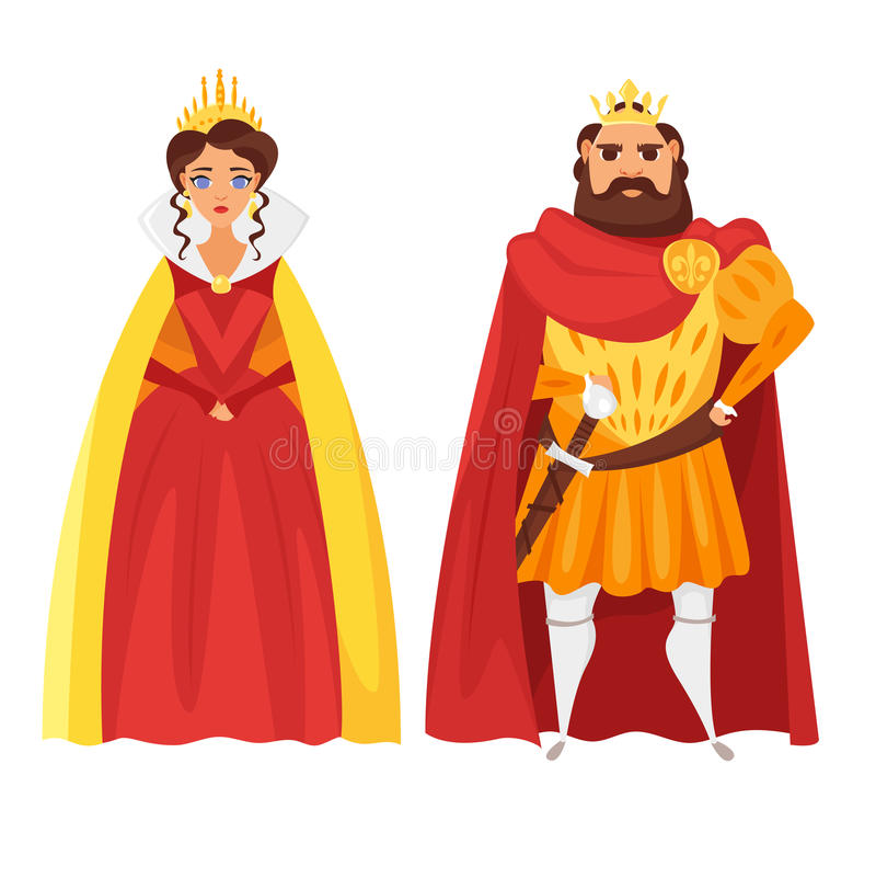 Vector cartoon style illustration of King and queen. Icon for web. Isolated on white background vector illustration
