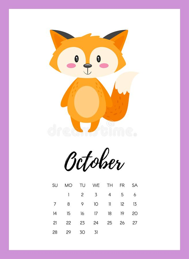 October Calendar Illustration : October year calendar page stock vector