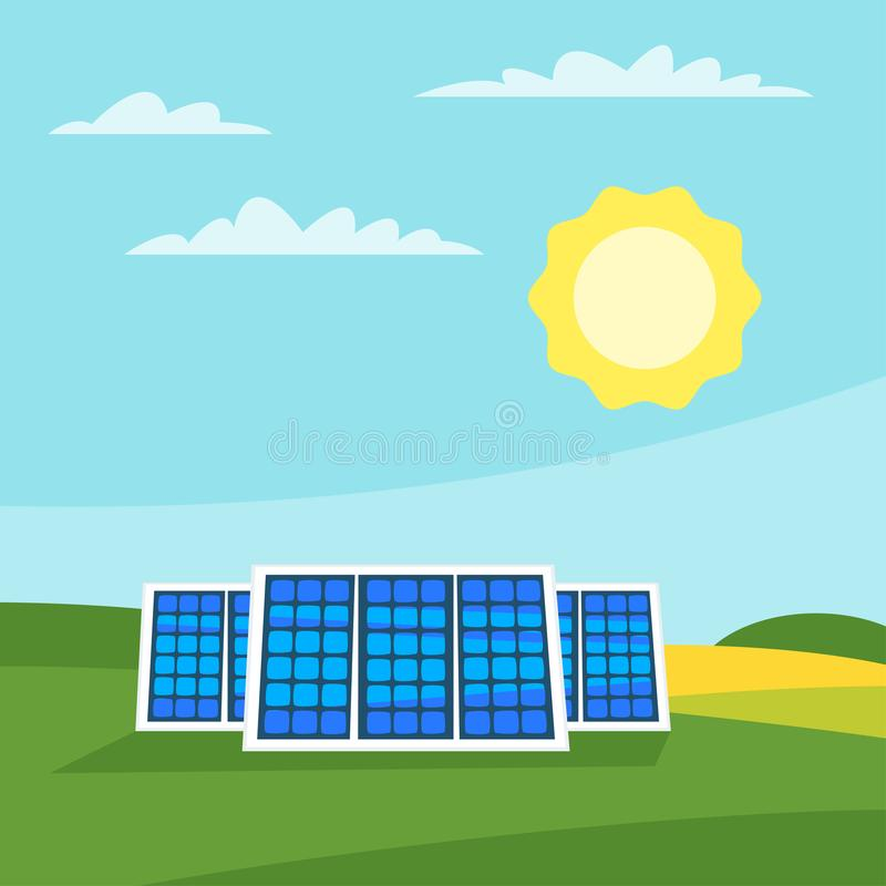 Solar panels in the meadow vector illustration