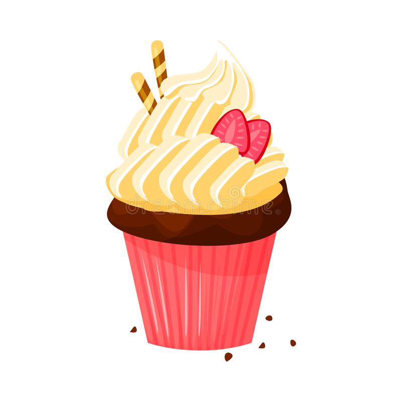 Vector cartoon style illustration of sweet cupcake. Delicious sweet dessert decorated with creme and strawberry. vector illustration