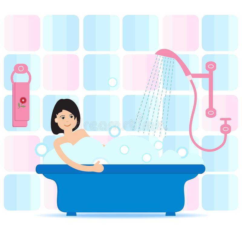 Vector cartoon style illustration of woman taking a bath full of soap foam. Relaxing girl in bathroom. Bathroom interior. Vector. Vector cartoon style vector illustration