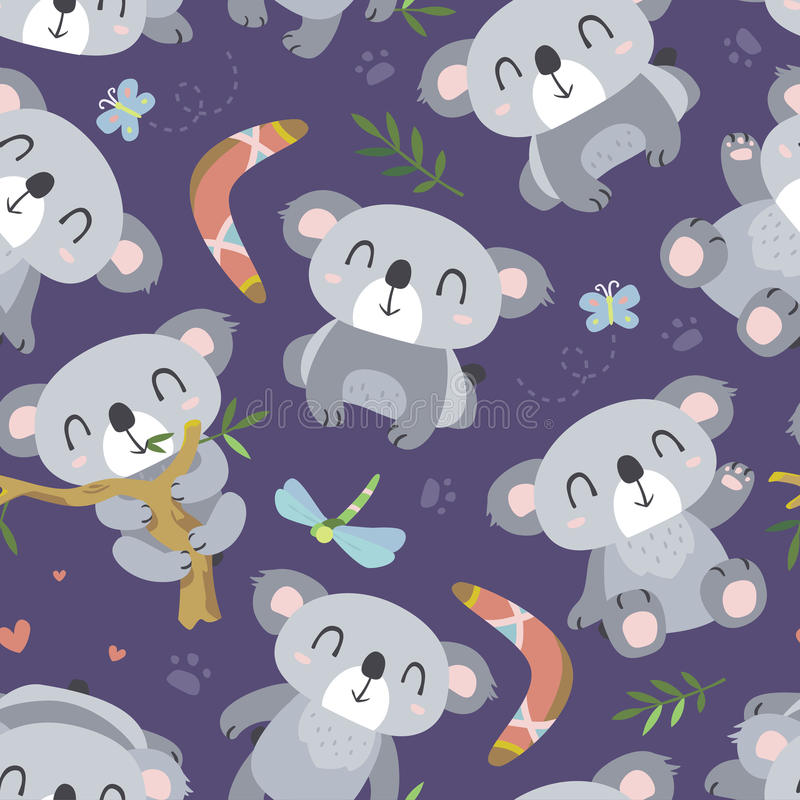 Vector cartoon style koala seamless pattern royalty free illustration