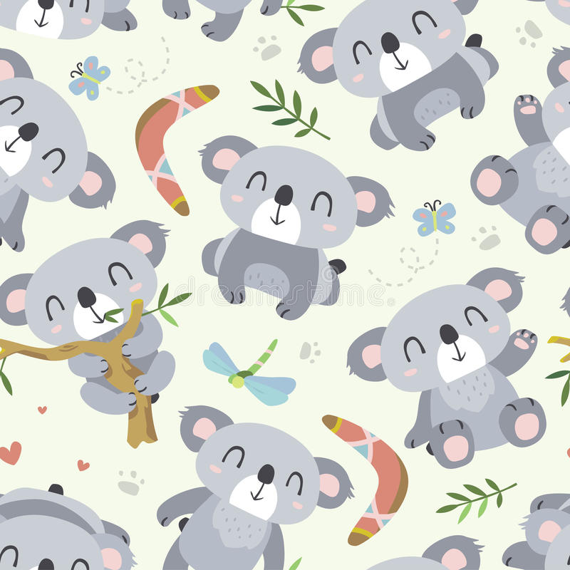 Vector cartoon style koala seamless pattern vector illustration