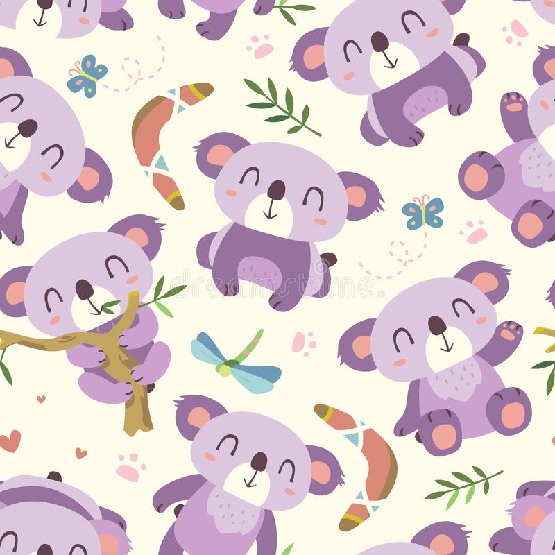 Vector cartoon style koala seamless pattern stock illustration