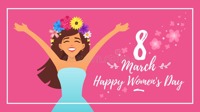 International woman`s day greeting card royalty free stock image