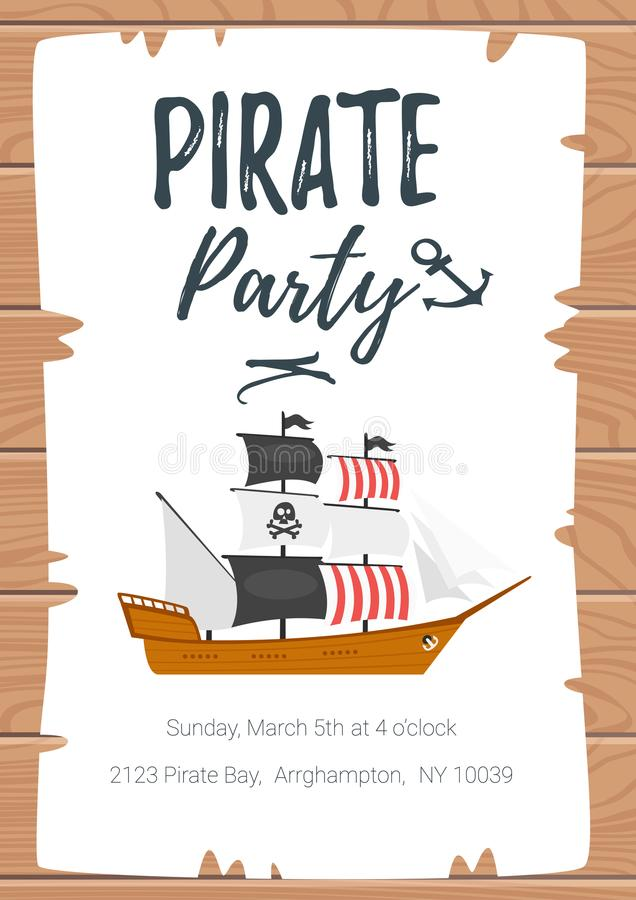Pirate kid party poster template royalty free illustration