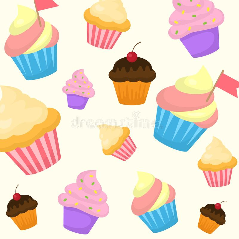 Vector cartoon style seamless pattern with sweet cupcake. Yummy dessert muffins decorated with cherry, pink icing and vector illustration