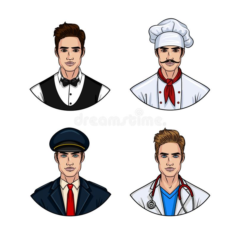 Vector cartoon style set of handsome young man wearing uniform. vector illustration