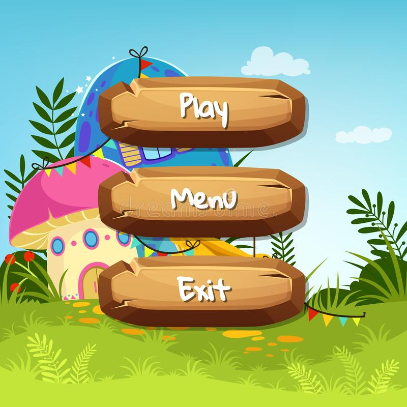 Vector cartoon style wooden buttons with text for game design on fairytale mushroom houses background stock illustration