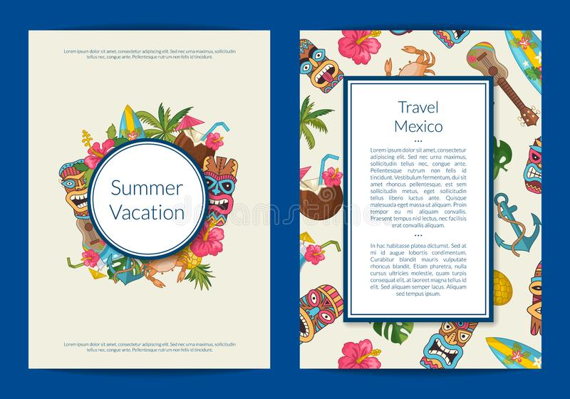 Vector cartoon summer travel card or flyer illustration stock illustration