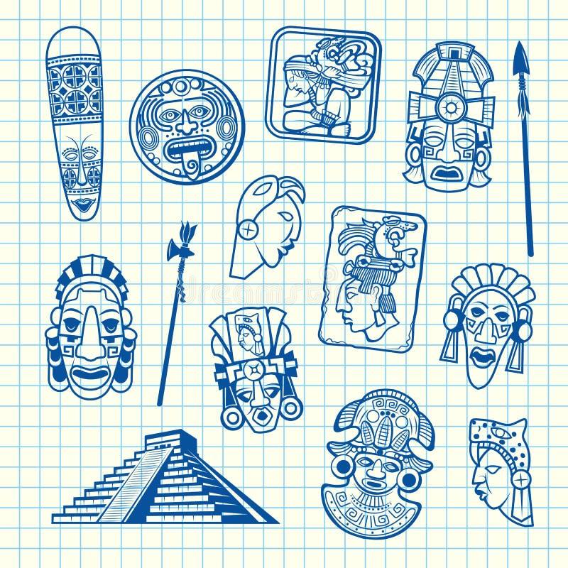 Vector cartoon summer travel elements tiki mask of set. Isolated on blue cell sheet background illustration stock illustration