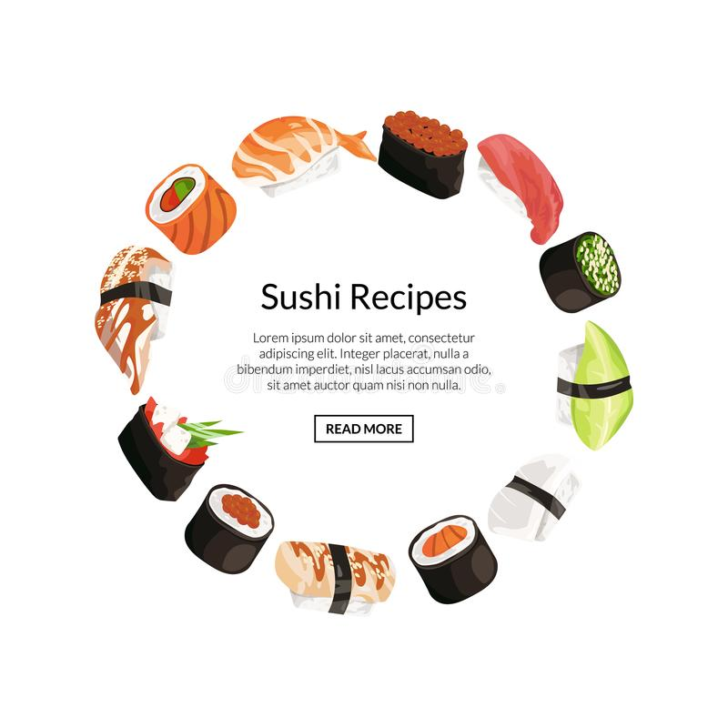 Vector cartoon sushi elements circle concept. With place for text in center illustration vector illustration