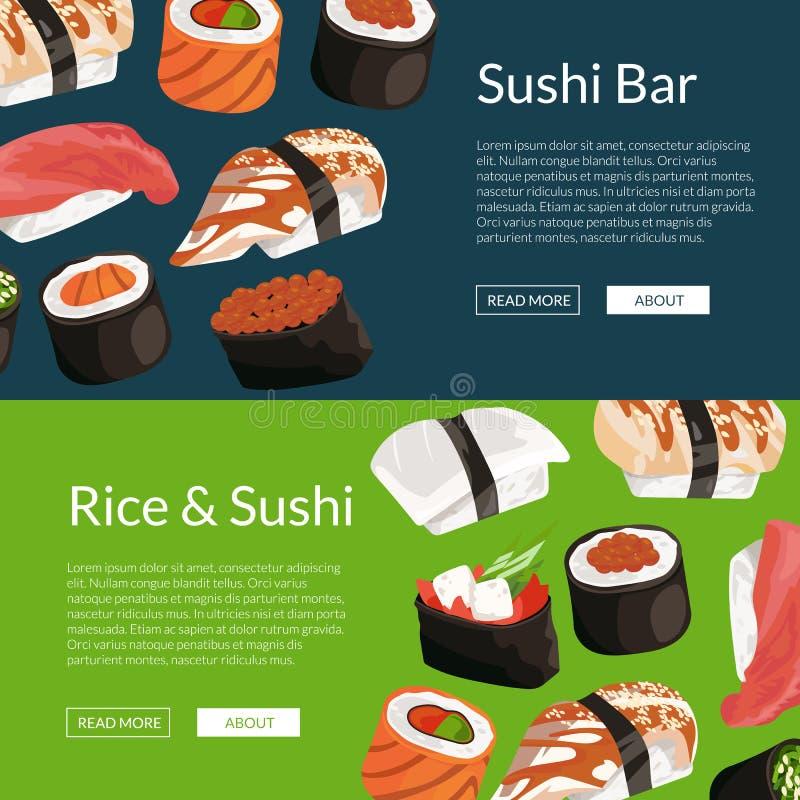 Vector cartoon sushi horizontal banner templates. Vector cartoon colored sushi horizontal banner and poster templates illustration stock illustration