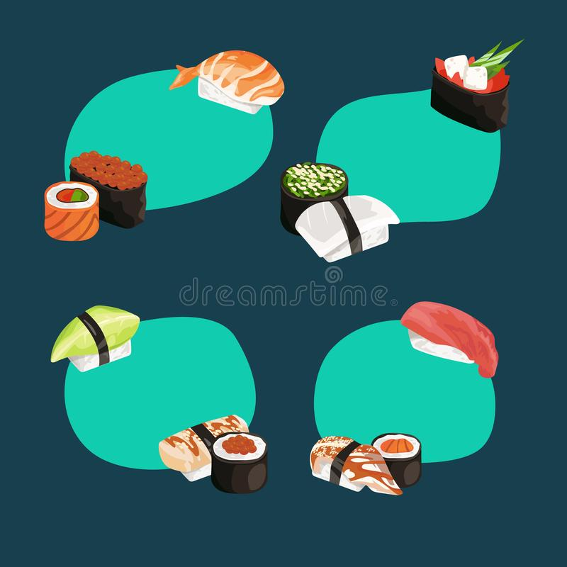 Vector cartoon sushi types stickers set. Vector cartoon sushi and rolls types stickers set with place for text illustration stock illustration