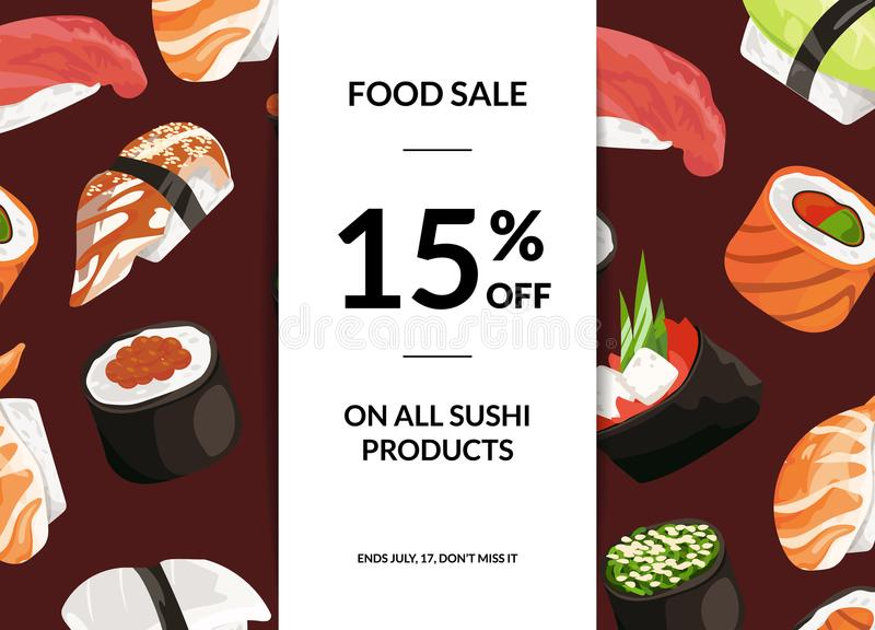 Vector cartoon sushi sale. Horizontal illustration with vertical ribbon and place for text illustration stock illustration