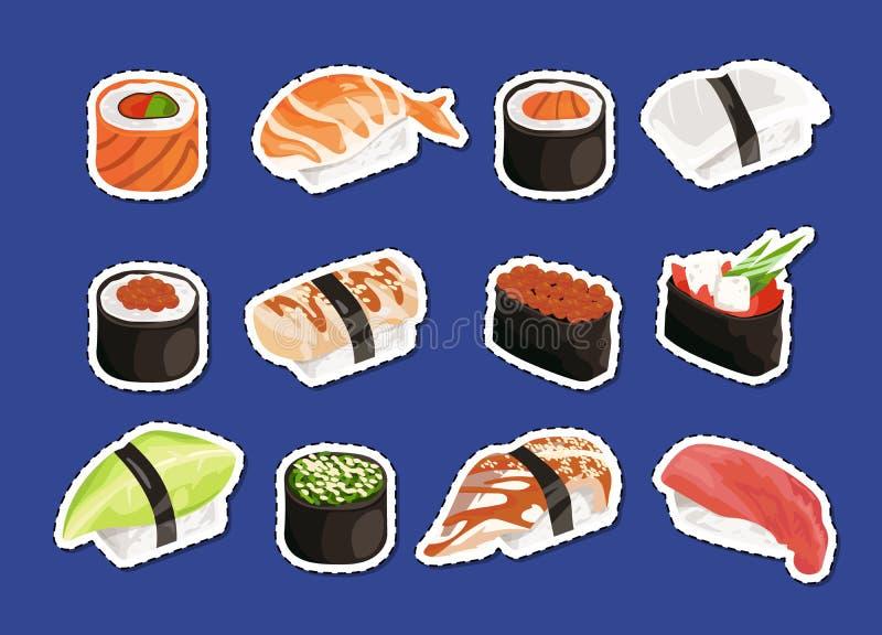 Vector cartoon sushi stickers set isolated. On plain background illustration stock illustration