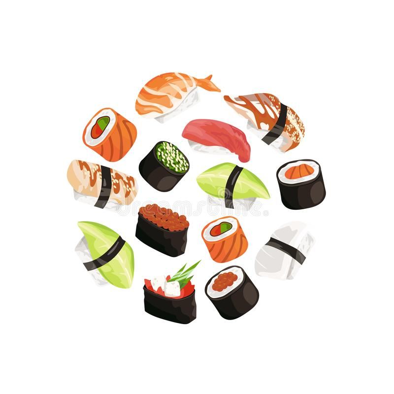Vector cartoon sushi types circle concept illustration. Japanese food and asian cuisine, roll and seafood sushi royalty free illustration