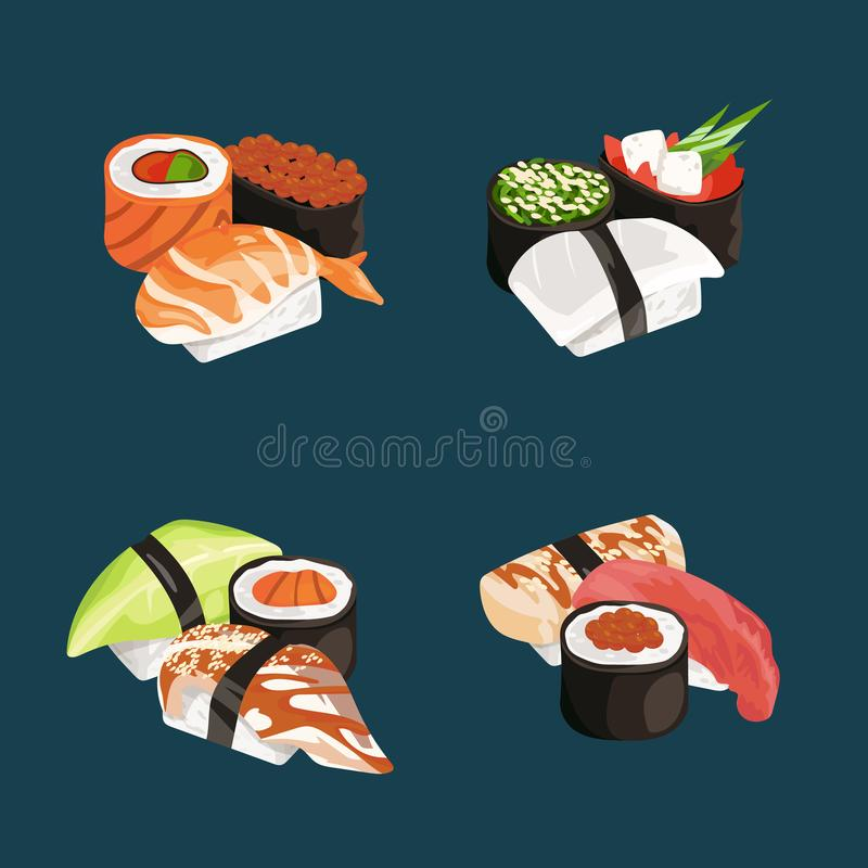 Vector cartoon sushi types piles set. Rice and fish, restaurant menu illustration stock illustration
