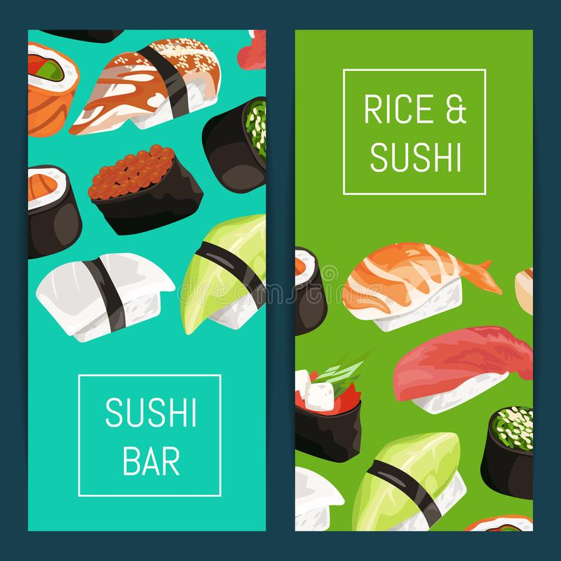 Vector cartoon sushi vertical banner templates. With place for text illustration royalty free illustration