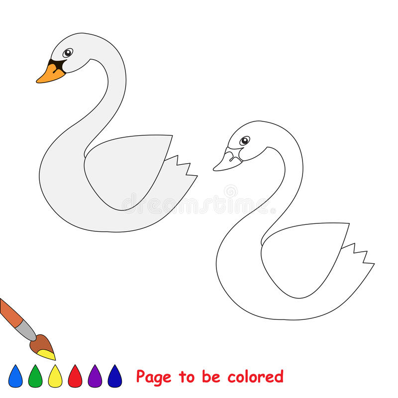 Vector cartoon swan to be colored. vector illustration