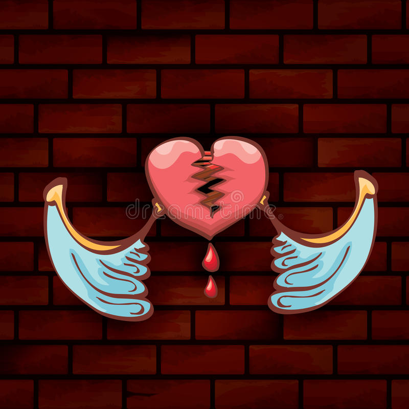 Vector cartoon tattoo style red broken heart. Vector cartoon style red broken heart on red brick grunge wall background. vector concept icon of divorce stock illustration