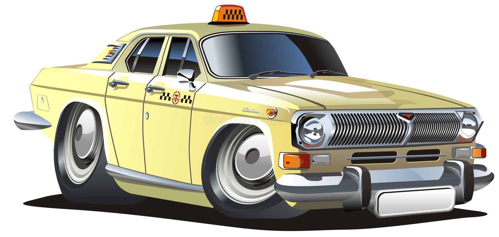 Vector cartoon taxi. Vector detailed illustration retro cartoon taxi car isolated on white background. Available AI-10 vector format separeated by groups and vector illustration