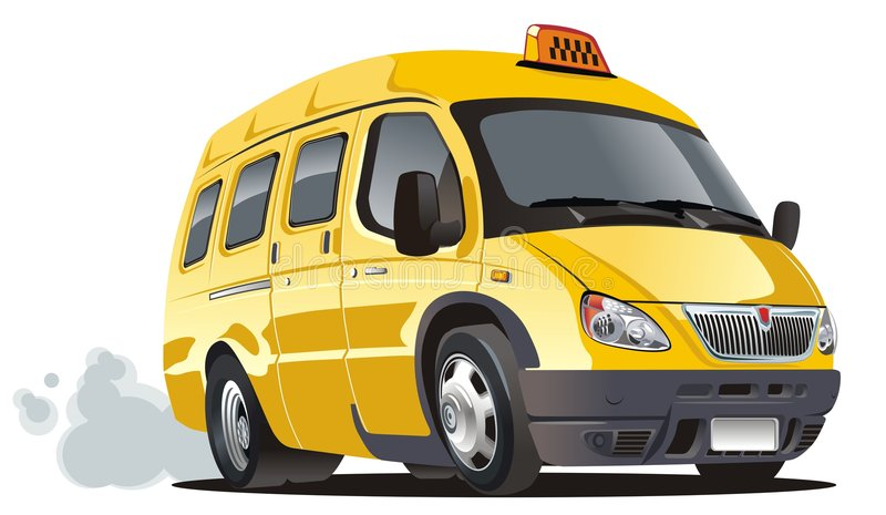 Vector cartoon taxi bus stock illustration