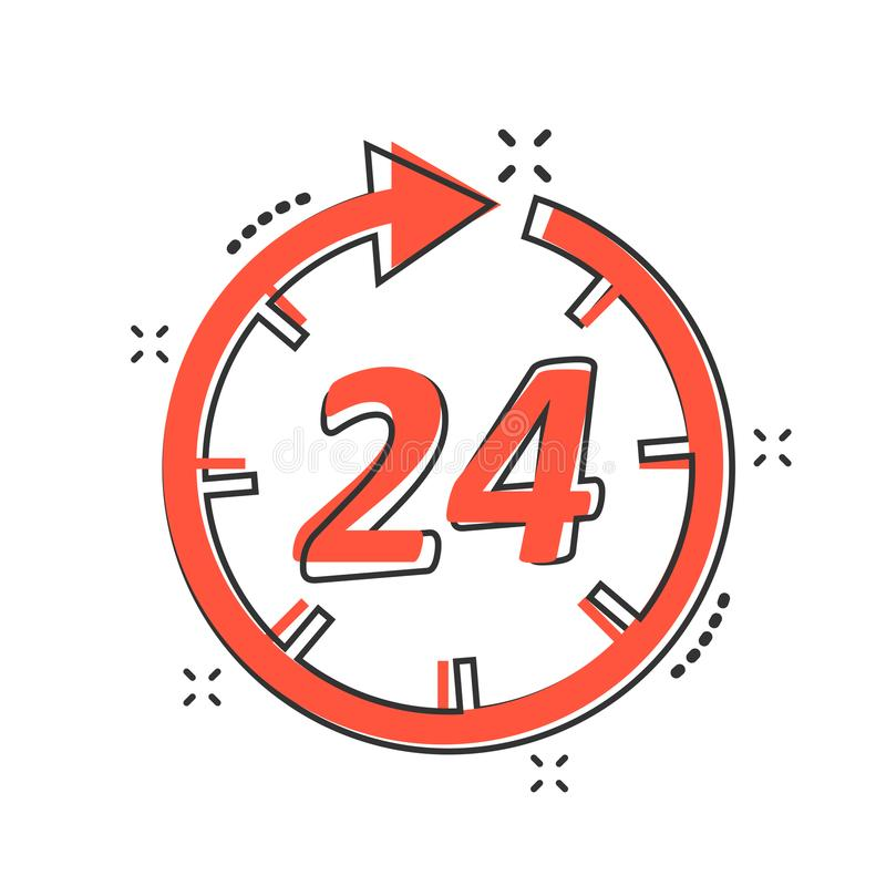Vector cartoon time icon in comic style. 24 hours sign illustration pictogram. Clock timer business splash effect concept. stock illustration