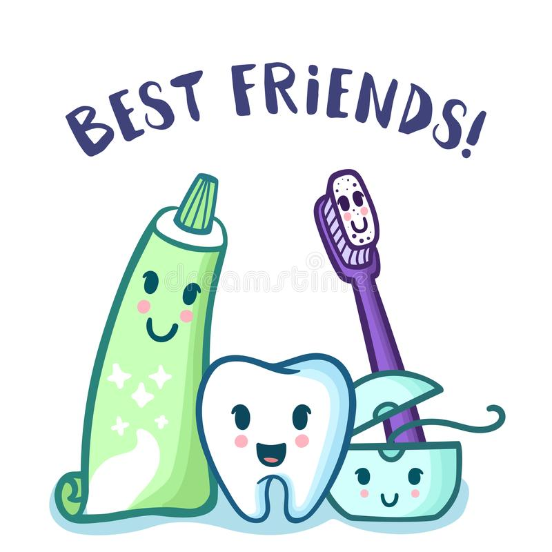 Vector Cartoon Tooth, Toothpaste, Toothbrush And Floss ...