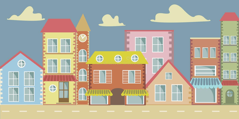 Town Landscape Vector Illustration: Vector Cartoon Town Stock Vector. Illustration Of Animated