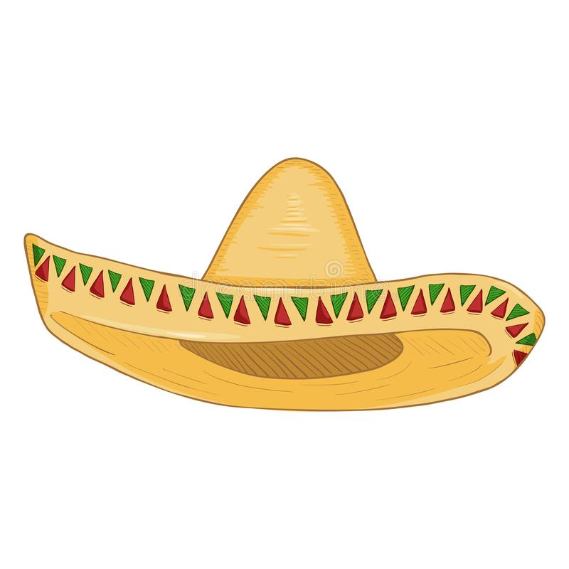 Vector Cartoon Traditional Mexican Hat. Classic Yellow Straw Sombrero stock illustration