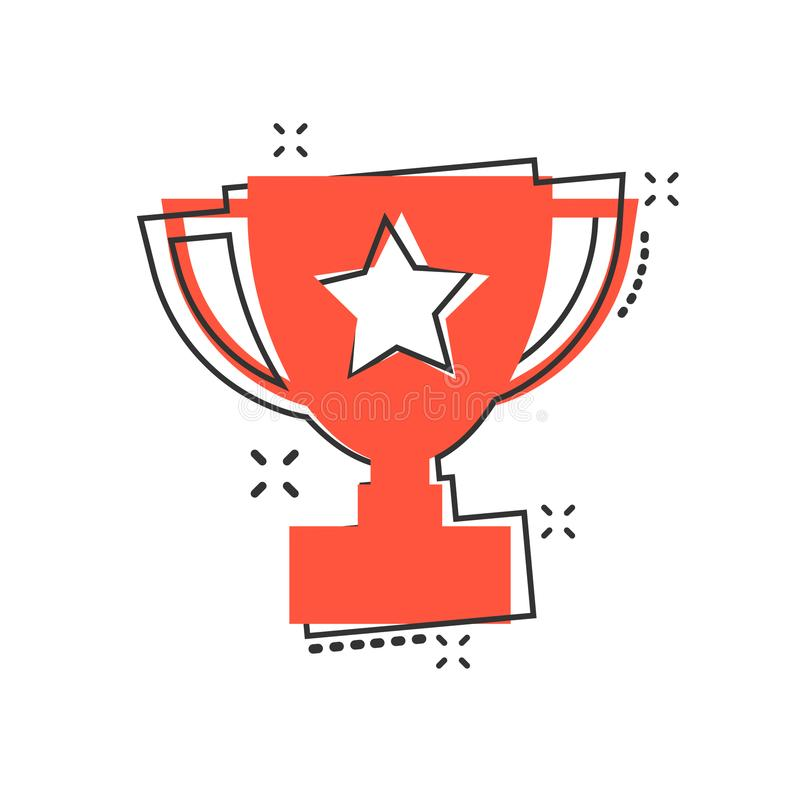 Vector cartoon trophy cup icon in comic style. Winner sign illus stock illustration
