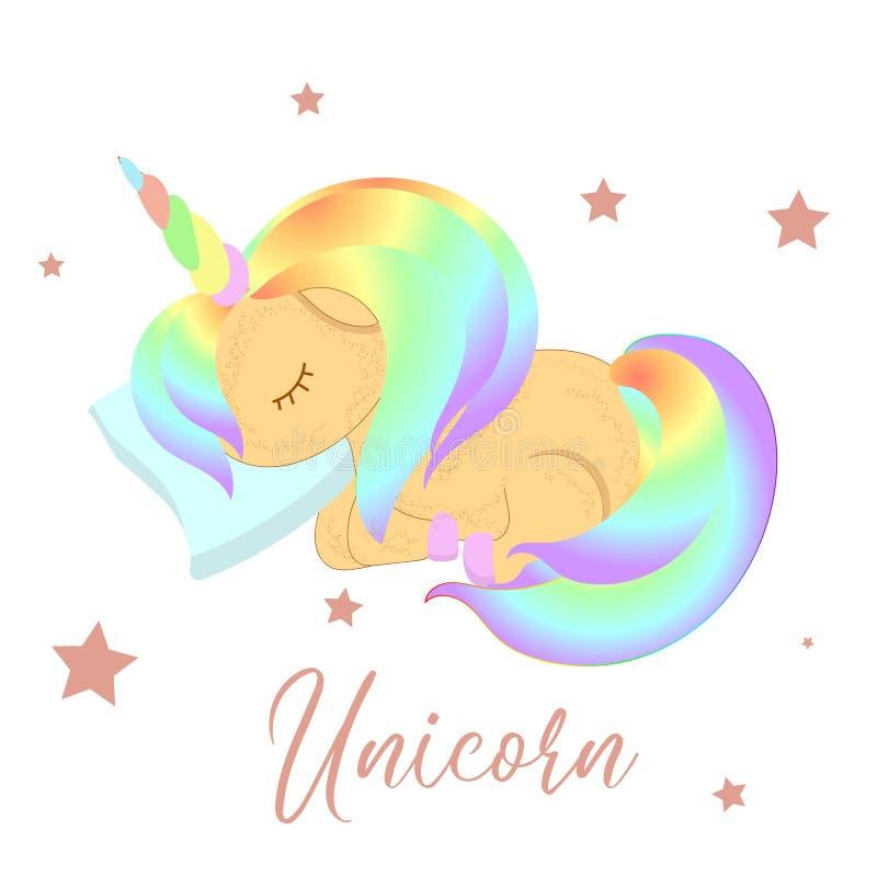Vector cartoon unicorn. Clipart isolated on white background. Rainbow hair. Dream symbol. Design for children.  vector illustration