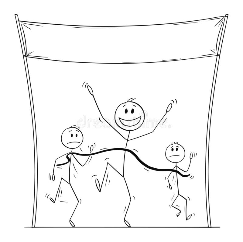 Vector Cartoon of Victorious Man or Athlete Who is First on the Finish Line in Run or Race. Vector cartoon stick figure drawing conceptual illustration of stock illustration
