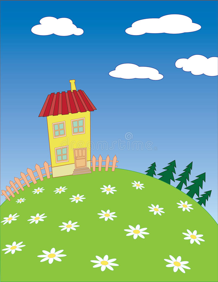 Vector cartoon village landscape. Cartoon village landscape. Vector illustration stock illustration