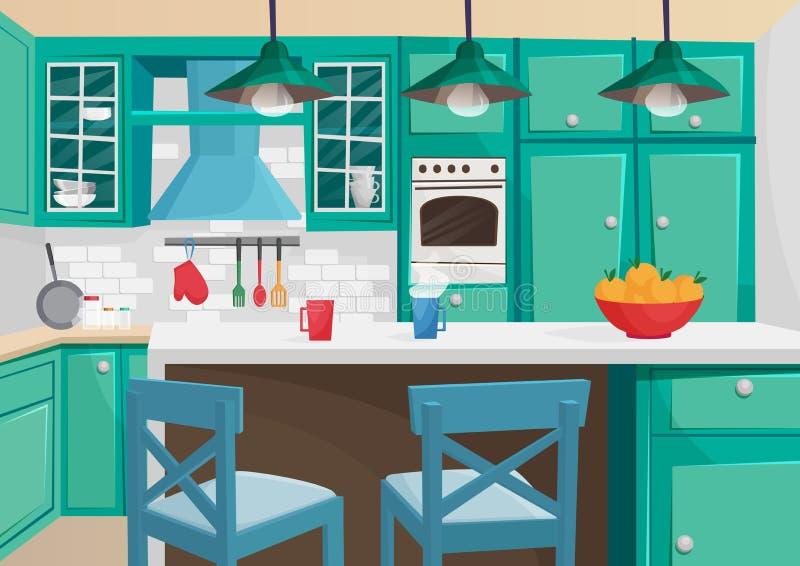 Vector Cartoon volumetric illustration of cozy vintage retro kitchen interior. royalty free illustration
