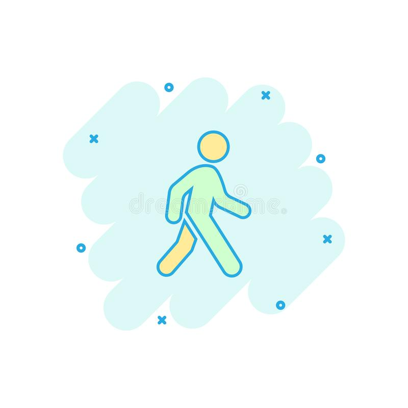 Vector cartoon walking man icon in comic style. People walk sign royalty free illustration