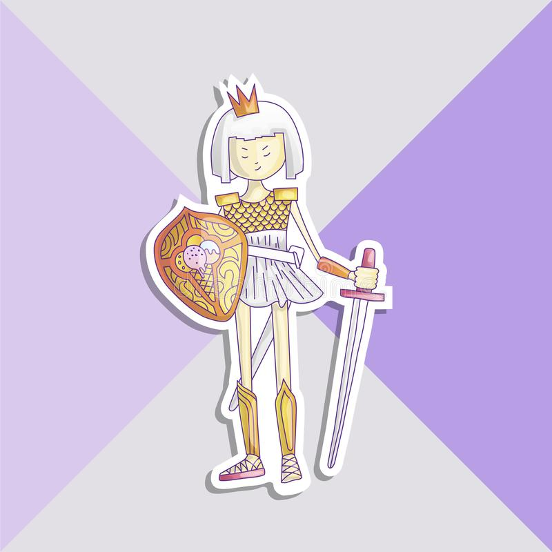 Vector cartoon warrior girl illustration with sword and shield, in crown and armour. Cute princess in crown and warrior. Dress with armor, sticker illustration stock illustration