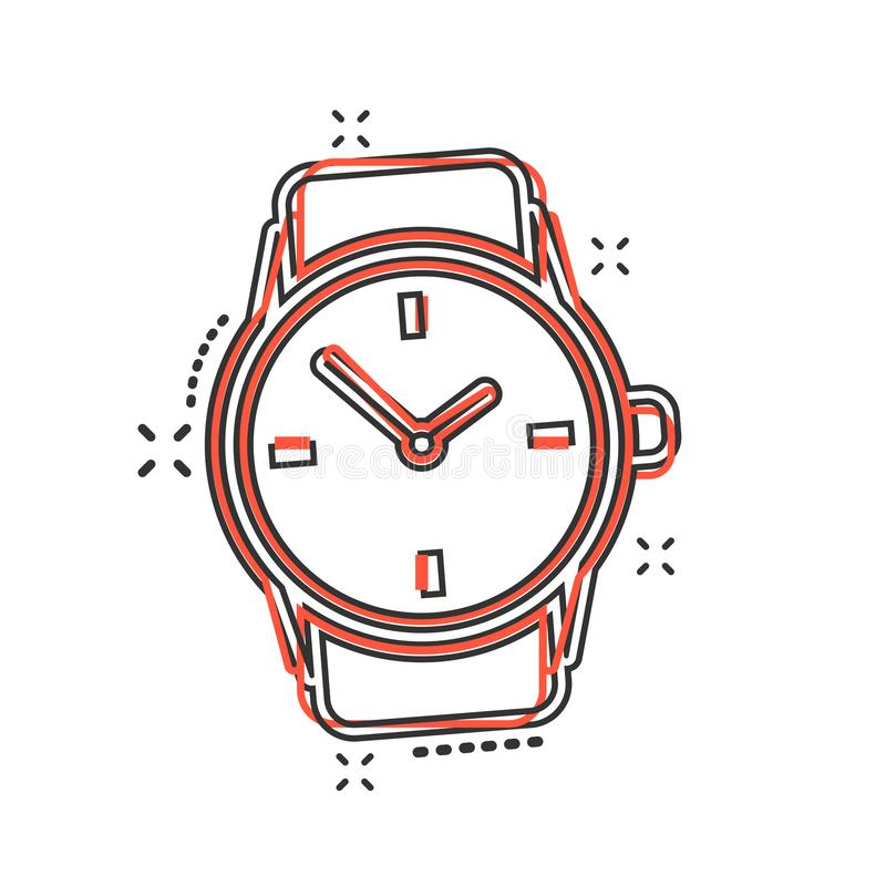 Vector cartoon watch icon in comic style. Clock sign illustration pictogram. Timer business splash effect concept. vector illustration
