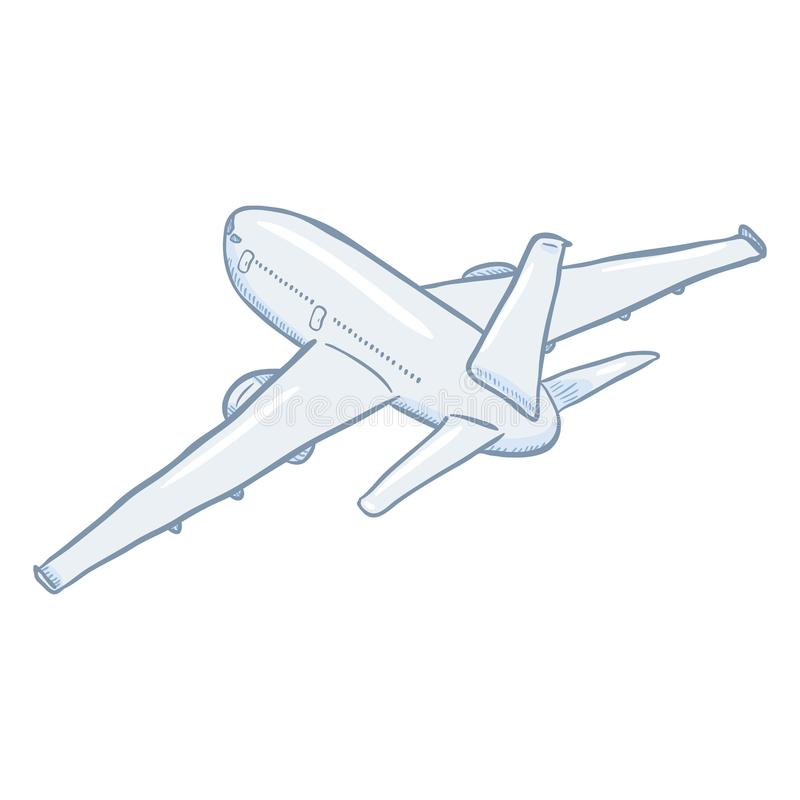 Vector Cartoon White Passenger Airplane. Commercial Aviation Aircraft. Back View royalty free illustration