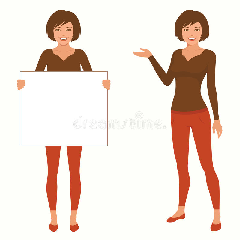 Vector cartoon woman character, vector illustration
