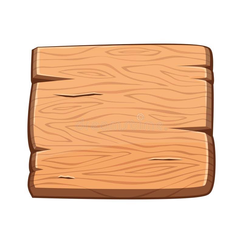 Vector cartoon wooden banner for game assets, ui development vector illustration