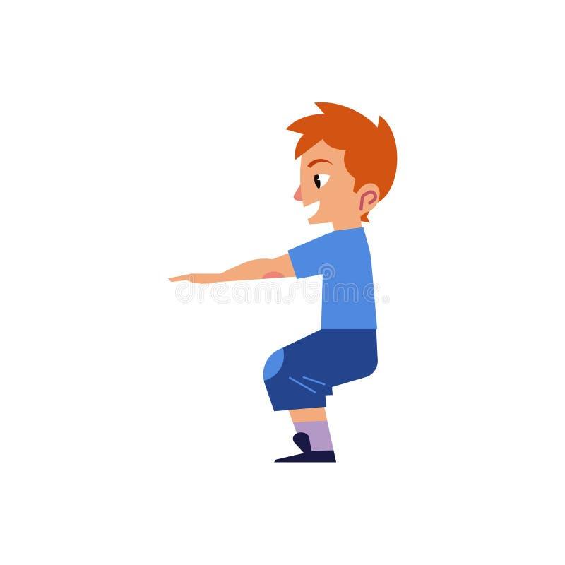 Download Vector Cartoon Boy Kid Doing Squat Exercises Stock